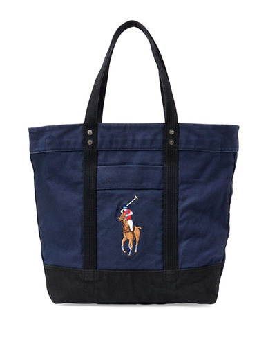 Polo Ralph Lauren Canvas Big Pony Tote-NAVY-One Size