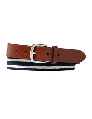 Polo Ralph Lauren Striped Stretch Webbed Belt-NAVY-38