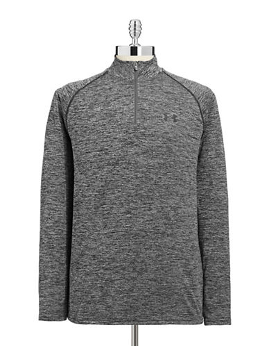 Under Armour HeatGear Loose Fit Quarter Zip Top-BLACK-Medium