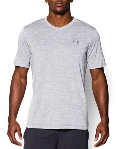 Under Armour Tech V-Neck T-Shirt-GREY-XX-Large