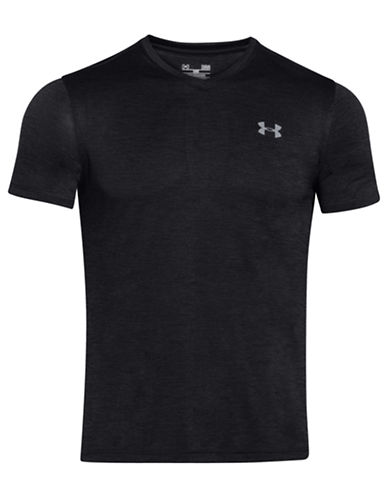 Under Armour Tech V-Neck Short Sleeve Tee-BLACK-Medium