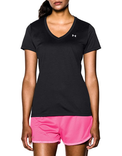 Under Armour Loose Fit Heat Gear V-Neck T-Shirt-BLACK-Large 88512516_BLACK_Large