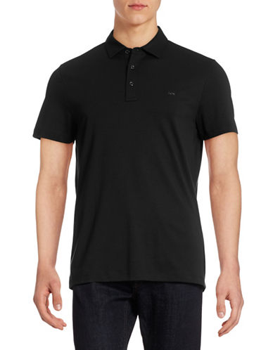 Michael Kors Sleek Cotton Polo-BLACK-Large