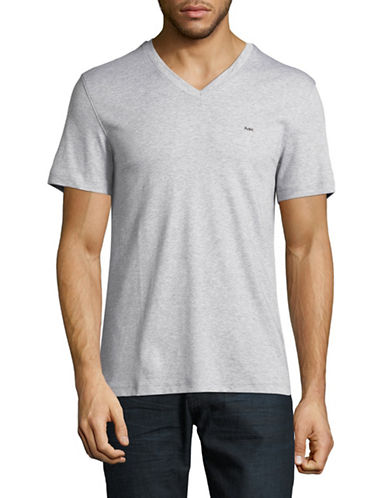 Michael Kors Sleek V-Neck Cotton Tee-GREY-Medium