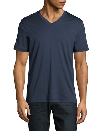 Michael Kors Sleek V-Neck Cotton Tee-BLUE-Large