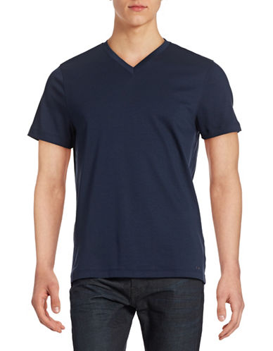 Michael Kors Sleek V-Neck T-Shirt-MIDNIGHT-Medium