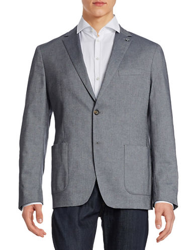 Michael Kors Tailored Fit Chambray Sports Jacket-MIDNIGHT BLUE-40