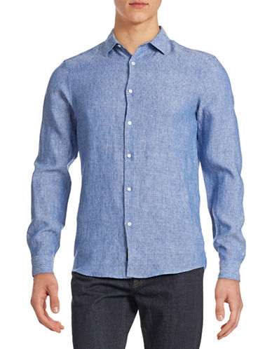 Michael Kors Silvio Slim-Fit Dotted Linen Shirt-INDIGO-Large