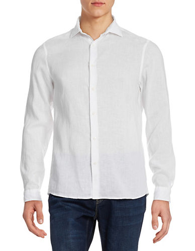 Michael Kors Solid Linen Sport Shirt-WHITE-X-Large