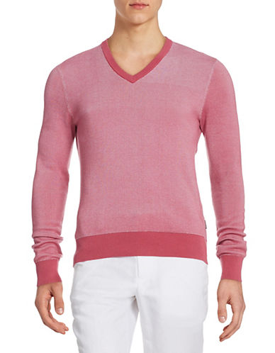 Michael Kors Two-Tone V-Neck Sweater-BRIGHT ROSE-Large