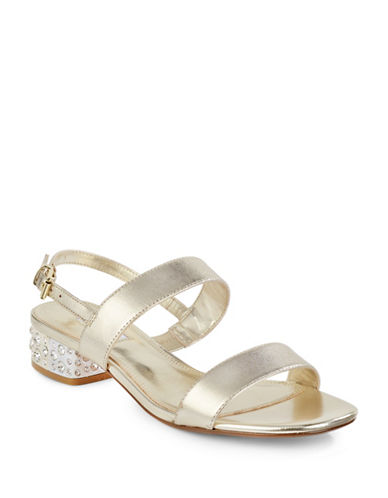 Dune London Ninah Jewelled Leather Sandals-GOLD-EUR 36/US 6