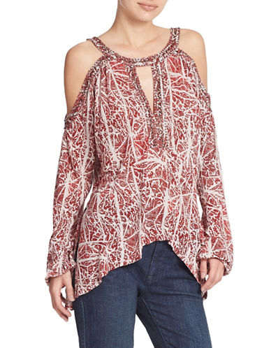 c9c92bcf51eeef UPC 888374292852 product image for Free People Keyhole Cold-Shoulder Top -RED-Large