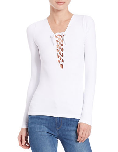 Free People Lattice Front Knit Top-WHITE-X-Small/Small