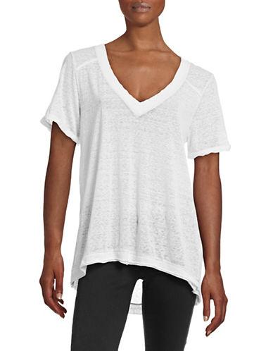 Free People V-Neck Burnout T-Shirt-WHITE-X-Small 88482313_WHITE_X-Small