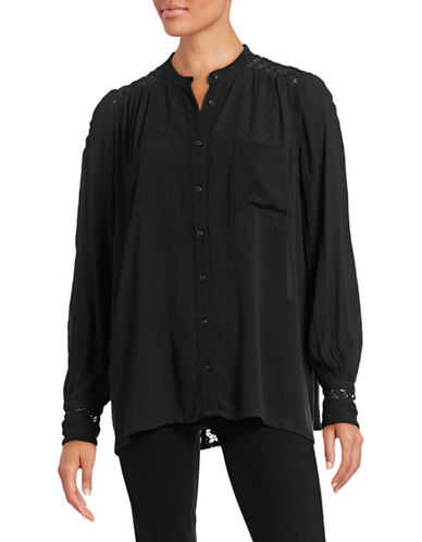 Free People Ponte Lace-Detailed Buttoned Blouse-BLACK-X-Small 88510034_BLACK_X-Small