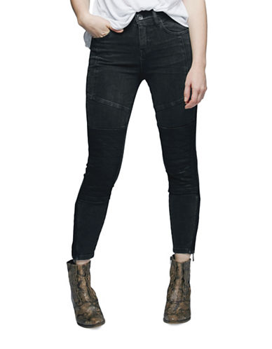 Free People Vintage Stretch Midnight Magic Moto Skinny Jeans-BLACK-26