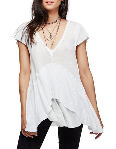 Free People Linen-Blend Layered Tee-WHITE-Large 88781850_WHITE_Large
