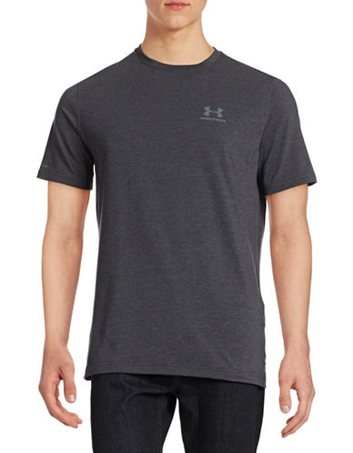 Under Armour Charged Cotton Left Chest Lockup T-Shirt-DARK GREY-XX-Large