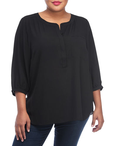 Nydj Plus Plus Plus Split Neck Georgette Tunic-BLACK-0X plus size,  plus size fashion plus size appare
