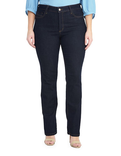 Nydj Plus Straight-Leg Five-Pocket Jeans-BLUE-20W