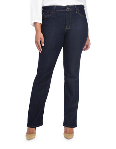 Nydj Plus Plus Marilyn Lightweight Straight Jeans-BLUE-22W
