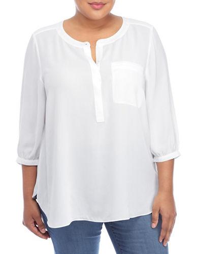 Nydj Plus Plus Georgette Pleat Back Blouse-NATURAL-3X plus size,  plus size fashion plus size appare