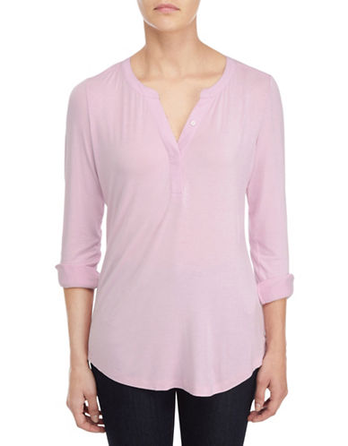 Nydj Roll-Tab Sleeve Top-PINK-Large