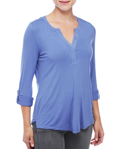 Nydj Roll-Tab Sleeve Top-BLUE-X-Large 88771388_BLUE_X-Large