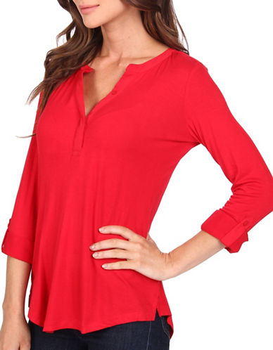 Nydj Roll-Tab Sleeve Top-RED-Large 88753078_RED_Large