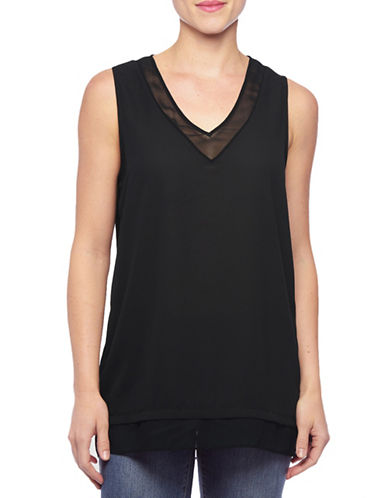 Nydj Illusion V-Neck Tank Top-BLACK-Small 88144298_BLACK_Small