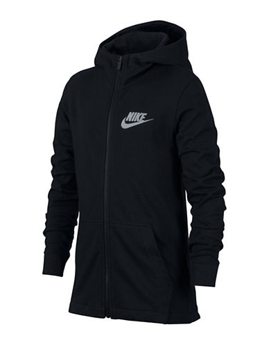 Nike Full-Zip Cotton Jersey Hoodie-BLACK-Medium