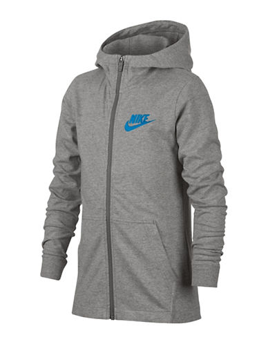 Nike Full-Zip Cotton Jersey Hoodie-GREY-Large