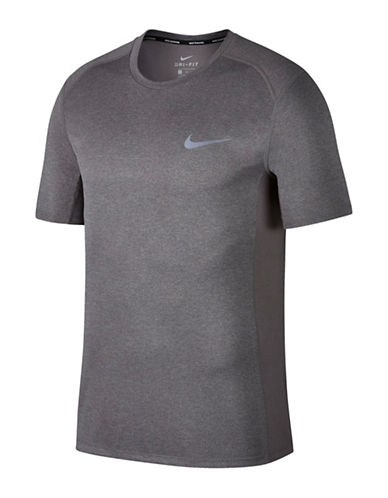 Nike Miler Short-Sleeve Running Top-GREY-Large