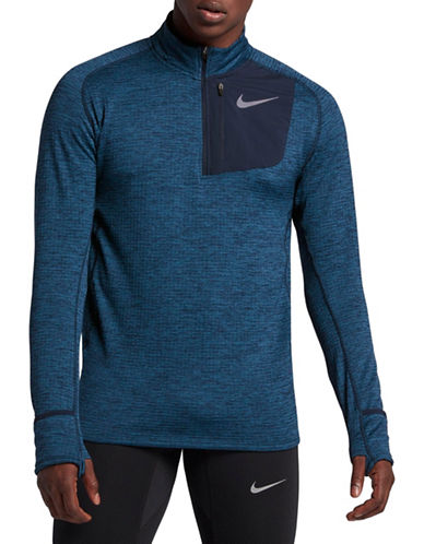 Nike Therma Sphere Element Running Top-BLUE/BLACK-X-Large