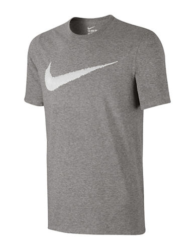 Nike Swoosh Cotton T-Shirt-GREY-Large