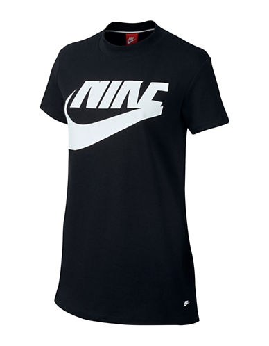 Nike Logo-Print Sportswear Top-BLACK-Medium