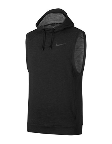 Nike Heathered Sleeveless Dry Training Hoodie-GREY-X-Large