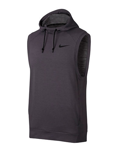 Nike Heathered Sleeveless Dry Training Hoodie-GUNSMOKE-Small