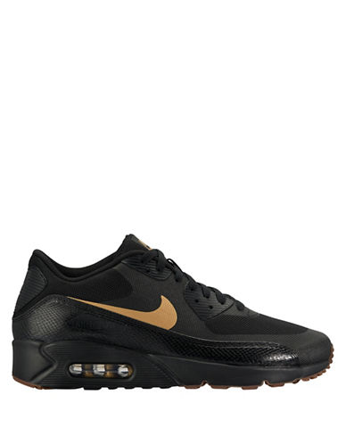 Nike Air Max 90 Ultra 2.0 Essential Sneakers-BLACK/GOLD-8.5