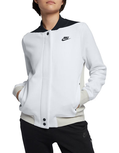 Nike Colourblocked Front Snap Jacket-WHITE-X-Large