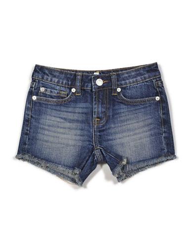 7 For All Mankind Raw Edge Denim Shorts-BLUE-8