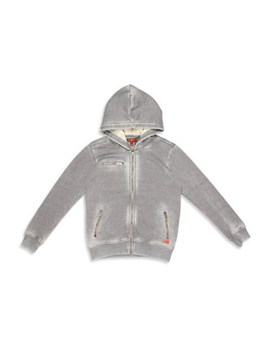 7 For All Mankind Full-Zip Burnout Hoodie-GREY-Small 88737366_GREY_Small