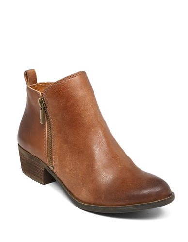 Lucky Brand Basel Leather Booties-TOFFEE-6.5