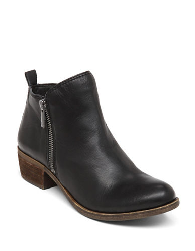 Lucky Brand Basel Leather Booties-BLACK-5.5