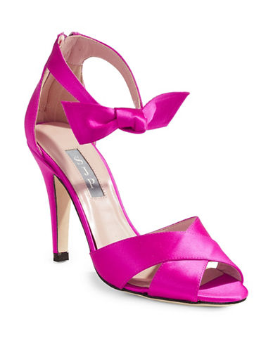 Sjp By Sarah Jessica Parker Satin Ankle Bow Peeptoe Heels-CANDY-EUR 39/US 9