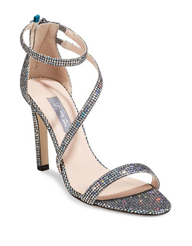 Sjp By Sarah Jessica Parker Serpentine Glitter High Heel Sandals-SILVER-EUR 37.5/US 7.5