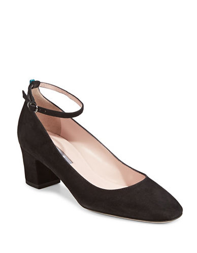 Sjp By Sarah Jessica Parker Ingenue Suede Ankle Strap Pumps-BLACK-EUR 38.5/US 8.5