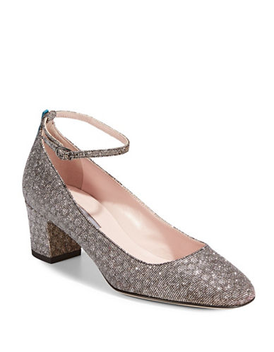 Sjp By Sarah Jessica Parker Ingenue Metallic Ankle Strap Pumps-GOLD-EUR 40/US 10