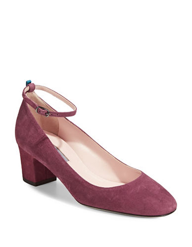 Sjp By Sarah Jessica Parker Ingenue Suede Ankle Strap Pumps-BORDEAUX-EUR 38.5/US 8.5