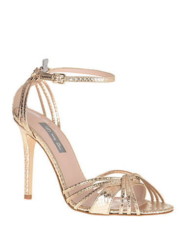 Sjp By Sarah Jessica Parker Willow Leather Ankle-Strap Sandals-GOLD-6